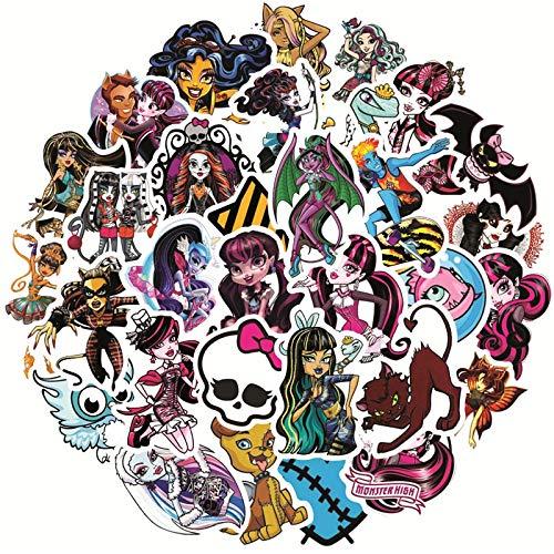 YOUKU Monster High Pegatinas Impermeables para niños, monopatín, Maleta, Guitarra, Graffiti, Pegatina DIY, Juguetes para niños, 50 Uds.