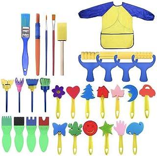 Queta Ensemble de brosses de Peinture éponge pour Enfants, kit de brosses à Motif de 31 pièces pour Enfants Peinture Brico...