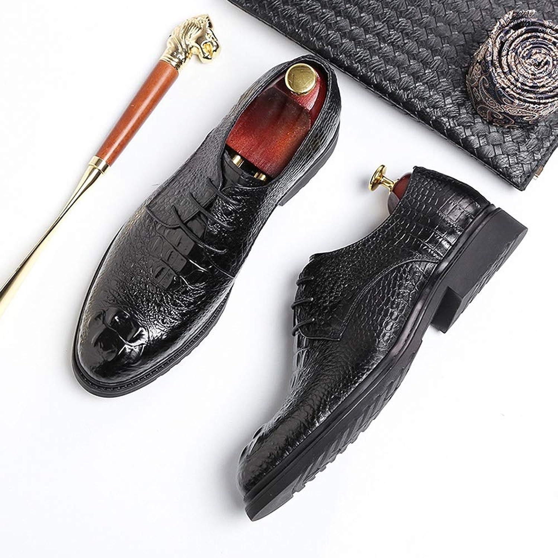 MALLTY Chaussures Derby en Crocodile pour Hommes