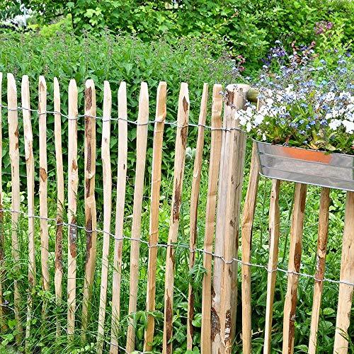 BURI Staketenzaun 0,9x5m Gartenzaun Holzzaun Gartenteichzaun Rollzaun Haselnuss Zaun