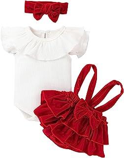 Juego de 3 piezas de ropa de verano elegante para niña recién nacida camisa blanca de manga corta con solapa de encaje + p...
