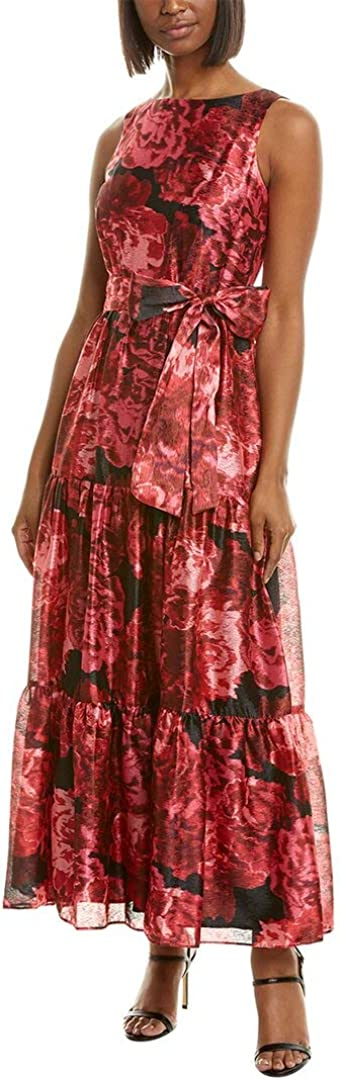 Tahari ASL Women's Sleeveless Floral Print Gown with Tiered Skirt