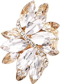 Rosemarie Collections Women's Rosemarie Collections Women's Dazzling Crystal Leaf Stretch Cocktail Ring