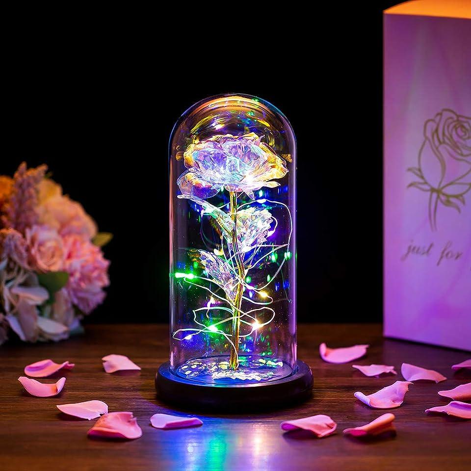 Die Schöne Und Das Biest Rose In Glaskuppel LED-Lichter Kristallrose Blumen Geschenk Zum Geburtstag Jubiläum Valentinstag Hochzeit Freundin Frau Frauen
