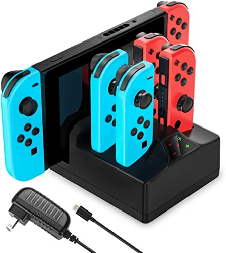 Switch Charger for Nintendo Switch, YCCTEAM 5 in 1 Charging Dock for Switch Joy-Cons and Console with AC Adapter Char...