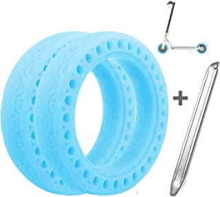 Suremita 2 Pieces Tires for XIAOMI M365, Tubeless Luminous Solid Tyre for Mijia M365 Electric Scooter + 1 Stainless Steel Tire Levers (8.5 Inch, Fluorescent Blue)