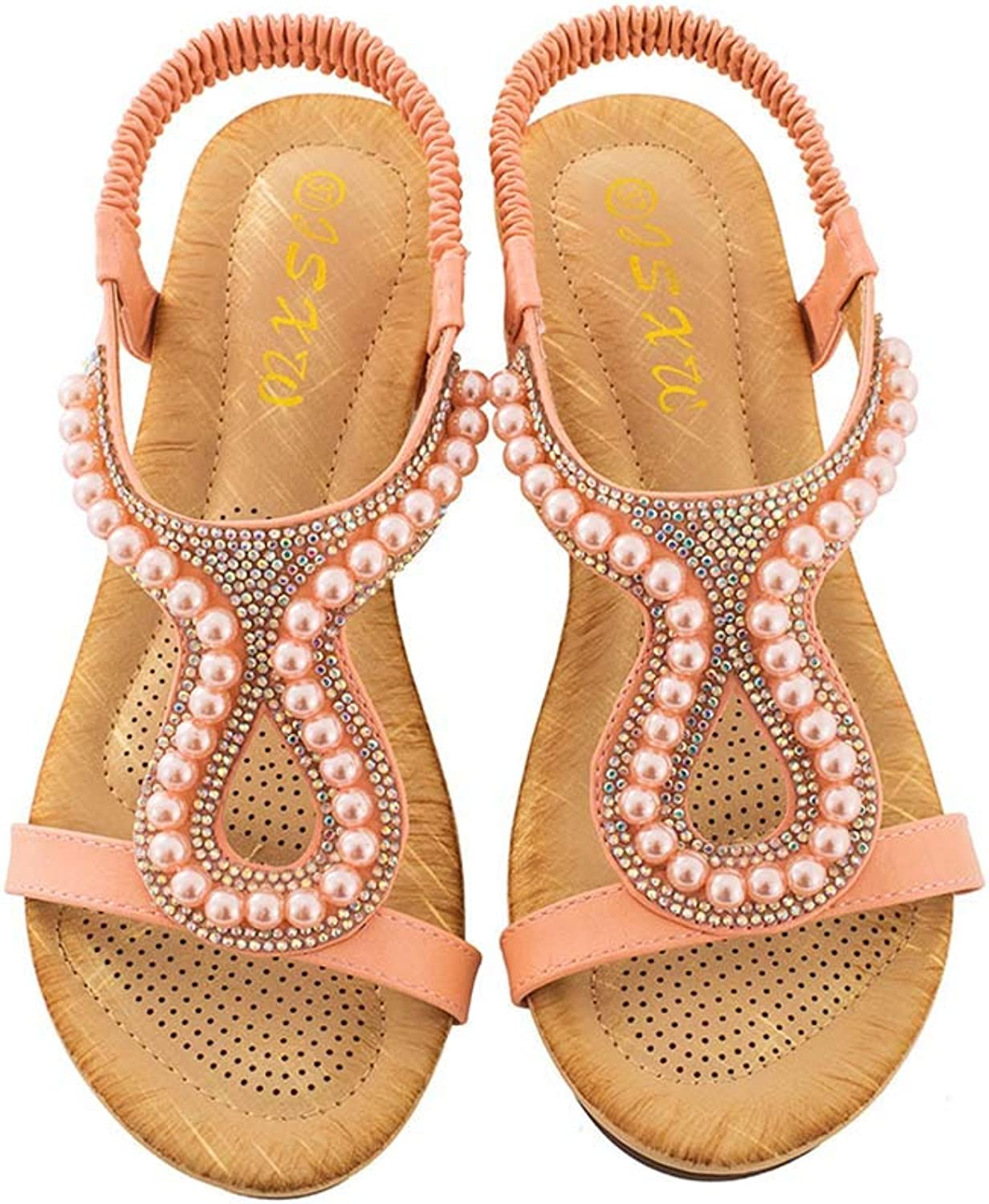 Women's Wedge Sandals Drill Beads Ornaments Sandals Open Toe PU Casual shoes Summer New