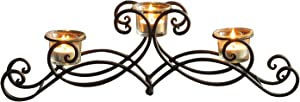 FrameArmy Black Iron Table Top Candle Holder, Holds 3 Tea lights