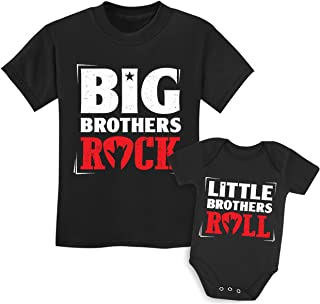Rock N Roll Siblings Shirts for Big Brother/Sister Little Brother/Sister Set