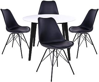 AltoBuy Gram - Ensemble Table Ronde Noire et Blanche + 4 Chaises Noires
