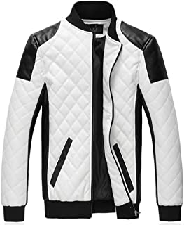 Cafuny Mens Fashion Zipper Stand Collar Casual Faux Leather Moto Biker Racer Jacket