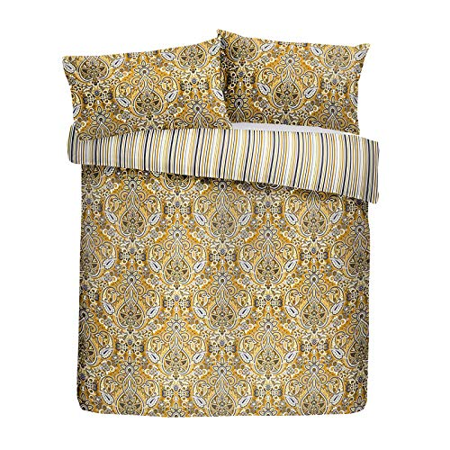HLS Bedding Contemporary Maduri Geometric Art Pattern Printed Duvet Cover And Pillowcase Set, Ochre - Double Size