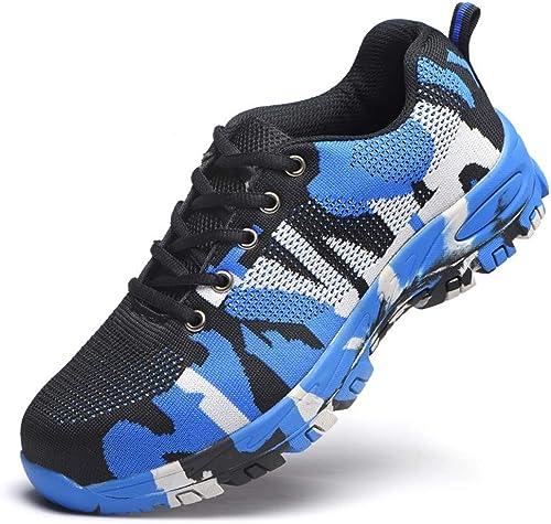 JESSIEKERVIN YY3 Chaussures de Camouflage Camouflage Volantes résistantes aux Chocs, Chaussures de sécurité, Chaussures de sécurité, Chaussures de sécurité (Couleur   Bleu, Taille   43)