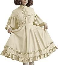 CUCUHAM women Long Sleeve Loose Stand Collar Lace Lantern Sleeve Cute Small Dress