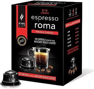 King Cup - Paquet de 50 Capsules de café Nescafè Dolce Gusto Mélange Rome, Intensité 8/10, Café Dense et Crémeux, 50 Capsu...