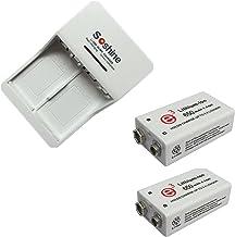 2 piezas 9V 650mAh Batería recargable de iones de litio con cargador de batería recargable universal para 9V 6F22 Ni-MH 9.8V 11.2V Li-ion 8.4V Ni-MH 9.8V 11.2V