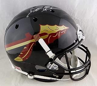 Deion Sanders Autographed Florida State Seminoles Full Size Black Helmet - Beckett Auth White
