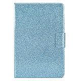Miagon per Samsung Galaxy Tab A {8.0} T290 2019 Bling Custodia,PU Pelle Luccicante Cover Stare in Piedi Protettiva,Blu
