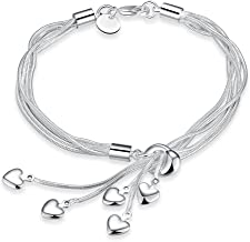 Shining Diva Fashion Heart Charms Silver Plated Stylish Bracelet for Women and Girls (10105b)