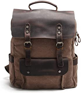 XHHWZB Canvas Laptop Backpack for Men and Women Vintage Leather Casual Travel Large School Backpack