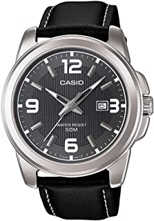 Casio Watch For Men Black Dial Leather Band - MTP-1314L-8AV