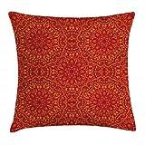 ABAKUHAUS Mandala Rojo Funda para Almohadar, Motivos Tribales Festivos Detalles Arabesco Floral Símbolo de Sabiduría Este, Material Lavable con Cremallera Colores No Destiñen, 45 x 45 cm, Rojo