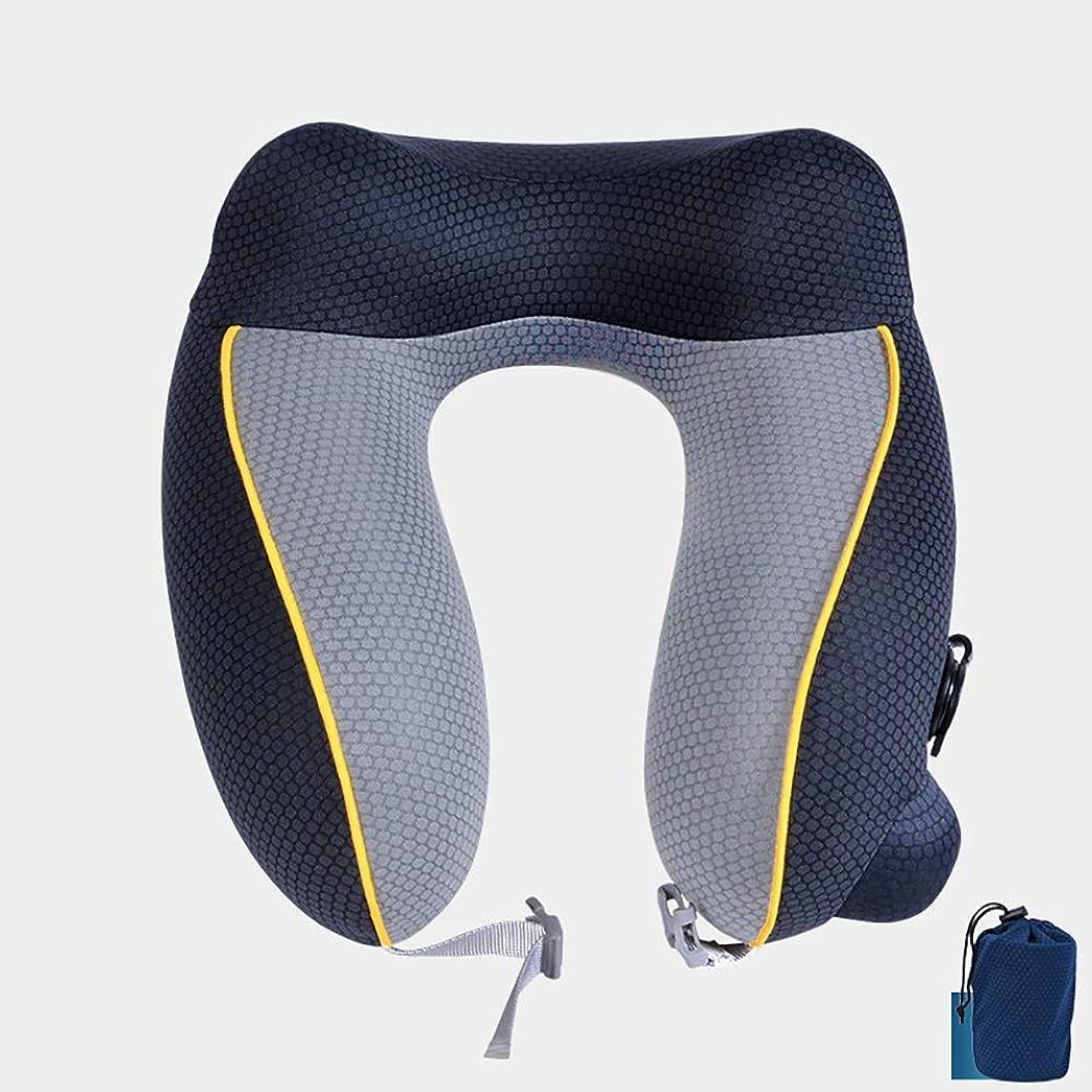 溶かすカプラースクランブルZXF インフレータブル圧力5色シンプルで快適な頚部枕カーブ旅行枕オフィストラベル快適なU字型枕 快適である (色 : Black)