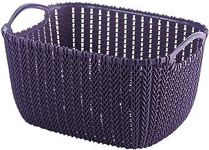 Basket Storage Shelf Box Plastic Rattan-Look Hamper with Insert Handles (Color : Purple, Size : Medium)