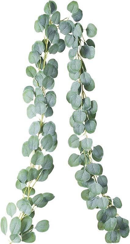 PARTY JOY Artificial Vines Faux Silk Eucalyptus Garland Greenery Wedding Backdrop Arch Wall Decor