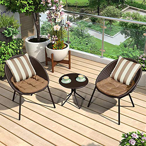 household products 3-piece terrace tavern set, outdoor balcony table and chair combination garden furniture, 2 rattan back chairs and 1 metal round table for living room/cafe