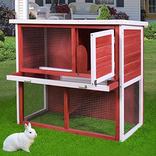 Sandinrayli 36' 2-Story Red Wooden Chicken Coop Hen House Rabbit Wood Hutch Poultry Cage w/Removable Tray Openable Door and Ramp (Red)