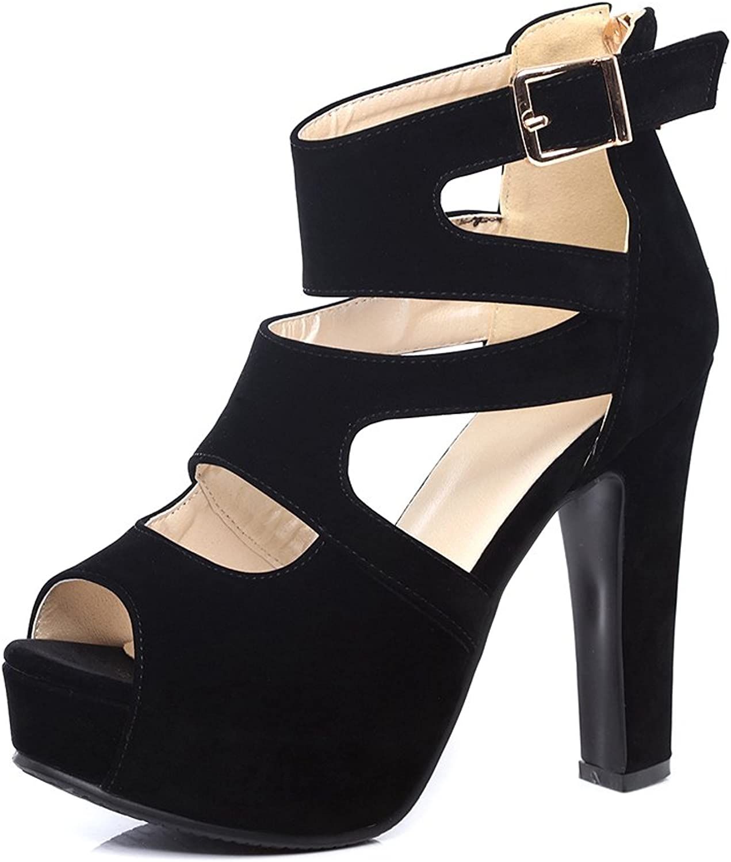 Womens Sandals Summer Flock shoes High Heel Pumps Thick Heel Evening shoes