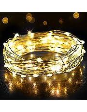 Fe lampor, OMERIL 12 m/39 fot 120 LED-lampor ljusslingor, IP65 vattentät varm vit eldfluga ljus för jul, fest, sovrum, bröllop, inomhus/utomhus -silvertråd (12 M-USB-kontakt)