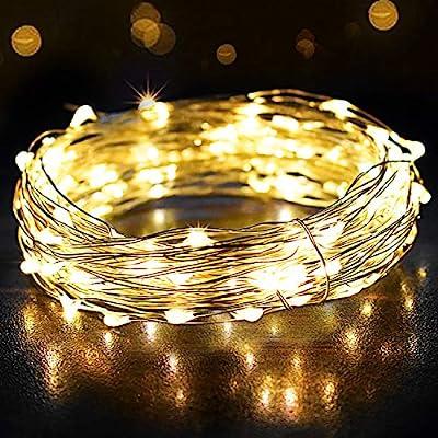 ⭐ 12M 120 LED Guirnalda Luces - 120 LED blancos cálidos entregan una luz Hermosa; Envuélvalo alrededor del árbol de Navidad, póngalo en una botella de vidrio o cuélguelo en la pared con sus fotos. Ideal para habitación, Navidad, jardines, bodas, fies...
