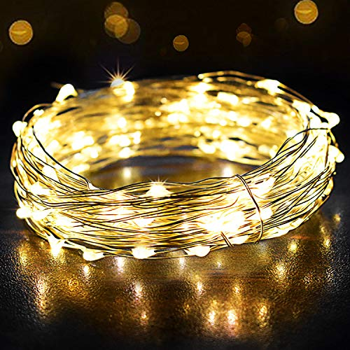 Fairy Lights, OMERIL 12m/39ft 120 LEDs String Lights, IP65 Waterproof Warm White Firefly Lights for Xmas, Party, Bedroom, Wedding, Indoor/Outdoor -Silver Wire (12M-USB Powered)