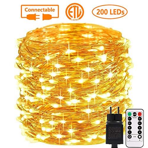 Lichterkette Außen, GreenClick 200 LED Lichterkette Strombetrieben Erweiterbar 20m IP65 Wasserdicht 8 Modi kupferdraht Lichterkette mit Fernbedienung und Timer für Zimmer Weihnachten Party (Warmweiß)