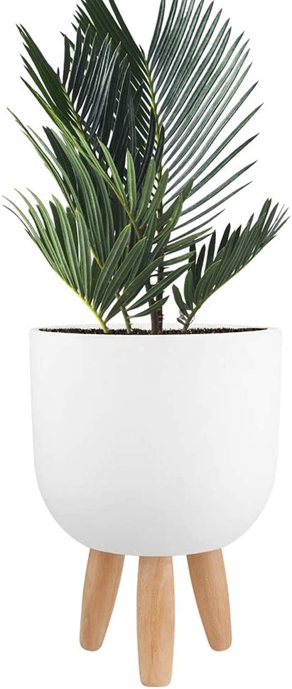 Worth Garden 9 inch Round Cement Planter with Wooden Legs, Indoor Outdoor Decorative White Flower Pot for Tree Plants with Stand Modern Industrial Large Concrete Containers Home Decor Office - G949A01