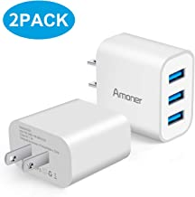 Wall Charger, Amoner 2Pack 15W 3-Port USB Charger Cube Portable Travel Wall Charger Plug for iPhone Xs/XS Max/XR/X/8/7/6/Plus, iPad Pro/Air 2/Mini 2, Galaxy9/8/7, Note9/8, LG, Nexus and More
