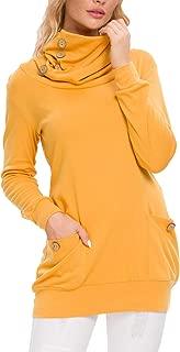 levaca Womens Long Sleeve Button Cowl Neck Casual Slim...