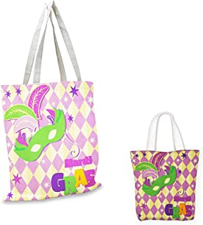 canvas messenger bag Mardi Gras Checkered Pattern with Stars Graphic Mask Harlequin Festival Composition Pink Yellow Green canvas beach bag