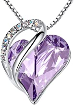 Leafael Infinity Love Heart Pendant Necklace Birthstone Crystal Jewelry Gifts for Women, Silver-tone, 18