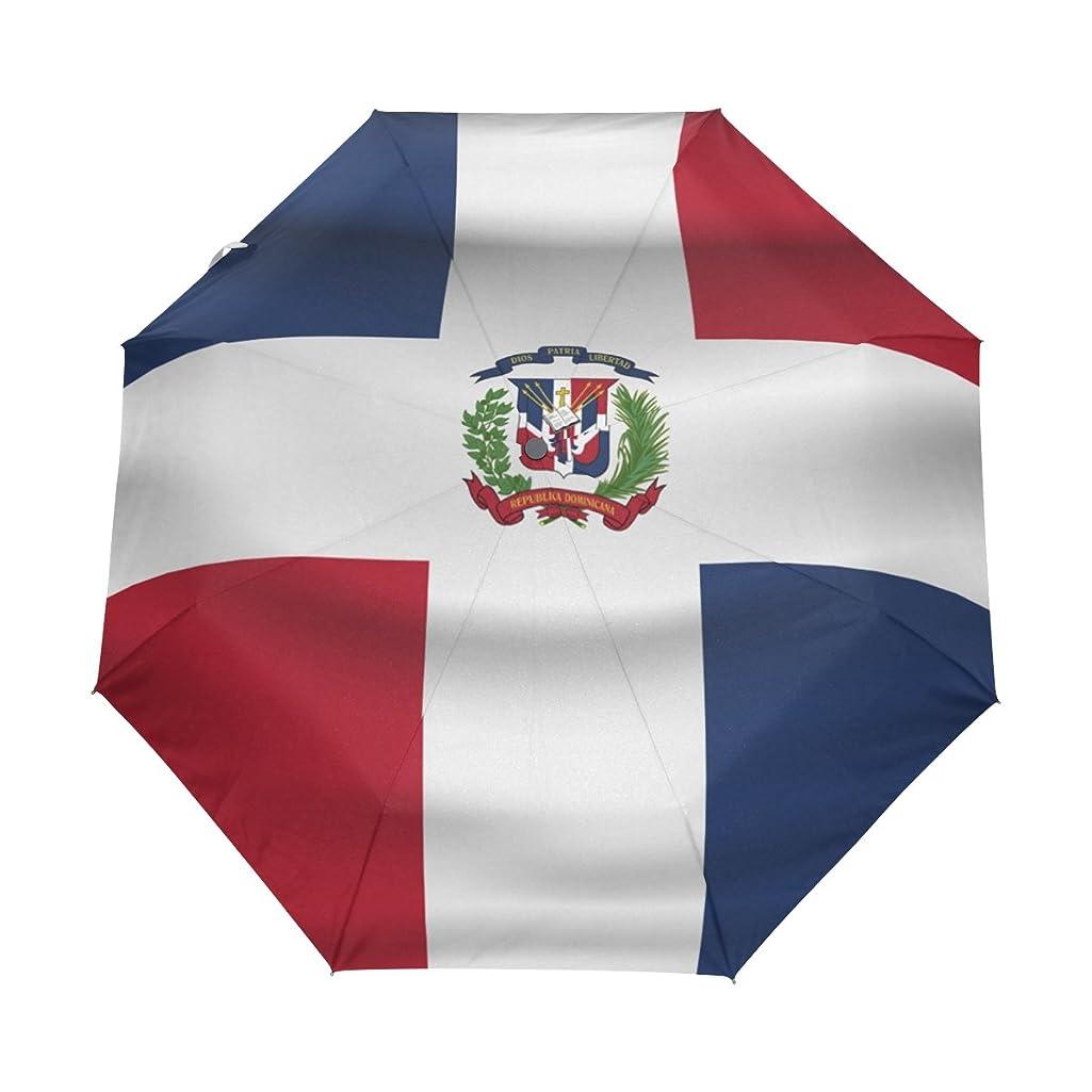 super3Dprinted Dominican Republic Flag UPF 50+ Anti-UV Parasol Rainproof Windproof 3 Folding Auto Open Close Umbrella