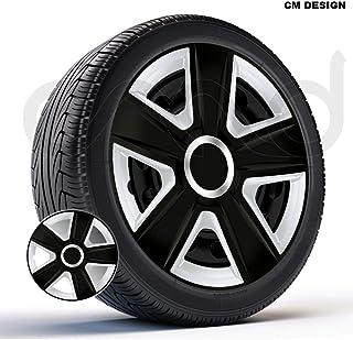 CM DESIGN 4 x 14 Zoll Esprit schwarz Silber Auto Radkappen Radzierblenden