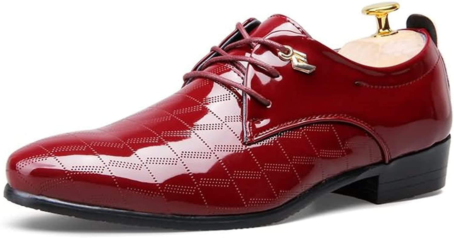 GLSHI Men's shoes Leather Summer Fall Comfort Lace-up for Wedding Casual Office & Career Party & Evening Black Red