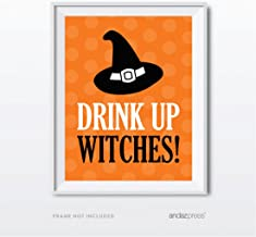 Andaz Press Classic Black and Orange Halloween Party Collection, Drink Up Witches! Party Sign, 8.5 x 11-inch, 1-Pack