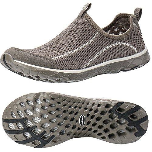ALEADER Men's Mesh Slip On Water Shoes White/Gray 11 D(M) US