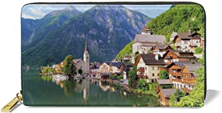 Women's Long Leather Card Holder Purse,Idyllic Alps Village Small Town By Majestic Mountain Lake European Pastoral Scenery,Elegant Clutch Wallet