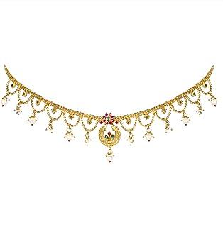 Peora Gold Plated Kundan Pearl Kamar Band Kamar Patta Belly Waist Chain Women Girls Jewellery Indian Traditional Ethnic We...