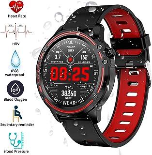 Padgene Smartwatch Reloj Inteligente IP68 Impermeable Bluetooth con Múltiples Deportes, Podómetro con Pulsómetro, Monitor de Sueño, Notificación de Llamada y Mensaje para Android e iOS (Negro Rojo)