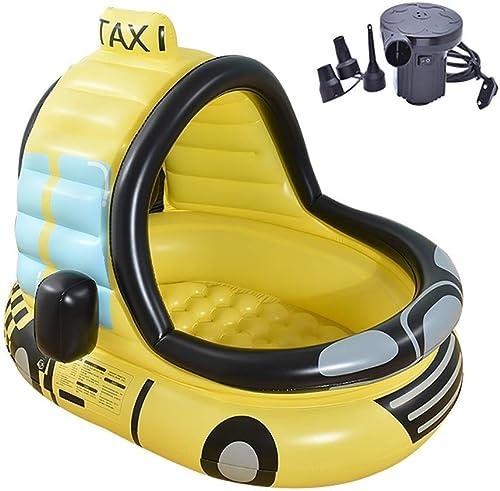 ZH1 Piscines gonflables Piscine gonflable pour voiture en PVC pour enfants - Fond de bulle - Avec pompe électrique - Pour enfants de moins de 10 ans, 120x100x130cm, Jaune